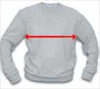sweatshirt width