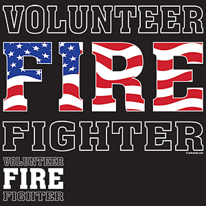 Volunteer Firefighter T-Shirt American Flag Fire Dept